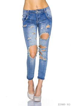 Modische Damen #Jeans vom Label #Mozzaar im äußerst auffälligen Design. Durch die vielen integrierten, zerrissenen Stellen ist diese Hose ein sicherer Blickfang. #eBay #stretch