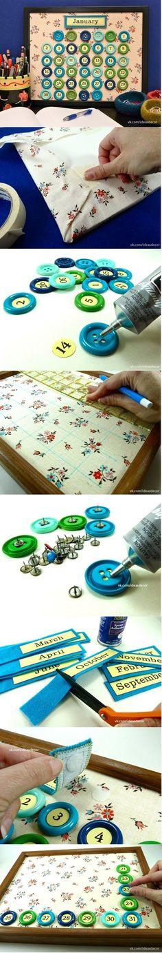 Календарь из ткани и пуговиц своими руками