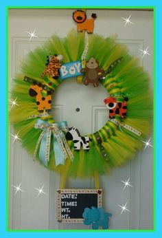 Jungle theme babyboy hospital door wreath.