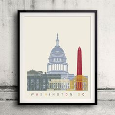 Washington DC skyline poster 8x10 in. to 12x16 in. Fine Art Print Glicee Poster…