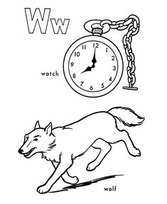 ABC Coloring Sheet Letter W Is For Watch Wolf