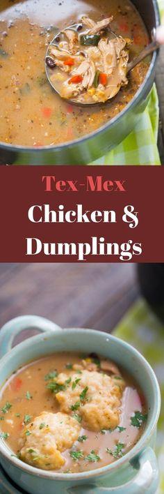 Tex Mex Chicken and Dumplings Recipe via @Lemonsforlulu