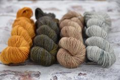Morning! I'll be honest it feels more like October here today. It's dark grey cool and pouring down. - Anyway here's some colour combination inspiration for you for Friday's (8pm) update: this is Bowland 4ply (was BFL Sock - more on that later) in (L-R) Marigold Starling Orkney Landscape and Orkney Seascape. - If you hop over to http://ift.tt/2tnk1Yl and make sure you're on our newsletter list you'll get a yarn-reminder straight to your inbox. Later today I'll be posting a full update…