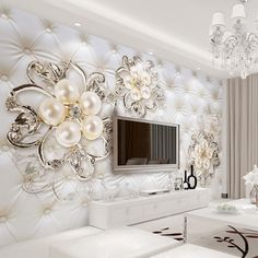 3D Fantasy European Style Soft Pack Stereo Relief Pearl Flowers TV Backdrop Wall Mural Hotel Living Room Luxury Photo Wallpaper #Affiliate