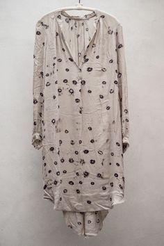 Raquel Allegra   Crepe Long Sleeve Dress — Dove Print