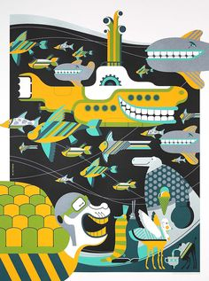 Artist Tom Whalen created these wonderful illustrations inspired by the 1968 animated Beatles film, Yellow Submarine. The officially licensed prints mark Beatles Art, The Beatles, Beatles Albums, Digital Illustration, Graphic Illustration, Art Illustrations, Tom Whalen, Create Your Own Adventure, Psychedelic Music