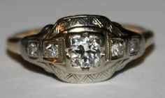 Antique Diamond 14k White Gold and Yellow by fairytaletreasures, $750.00
