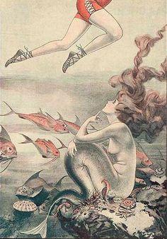 illustration, mermaid and la vie parisienne image on We Heart It Art Vampire, Vampire Knight, Fantasy Mermaids, Mermaids And Mermen, Real Mermaids, Vintage Mermaid, Mermaid Art, Mermaid Paintings, Tattoo Mermaid