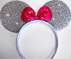 Silver Glitter Sparkling MINNIE MOUSE EARS----- Our founder @Regan Opel is a huge fan of Disney and glitter. So it would only make sense that she'd love a pair of these to go with a GlittErasable dry erase board! https://www.facebook.com/Glitterasable