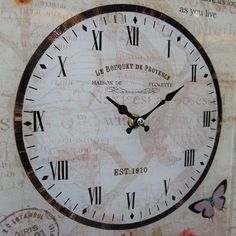 French Vintage Laugh Love Rectangular Glass Wall Clock with Butterfly Rose   eBay
