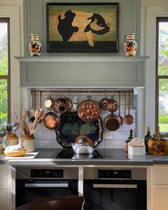 Jenny Rose Innes (@jennyroseinnes) • Instagram photos and videos Range Hood Cover, Jenny Rose, Sunday Paper, Copper Pots, Beautiful Space, Sunday Morning, New Kitchen, Liquor Cabinet, Entryway Tables
