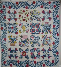 Antique Baltimore Album Quilt Eagle Am Flag Doves Baskets ~♥~ Two Color Quilts, Blue Quilts, Antique Quilts, Vintage Quilts, Quilting Projects, Quilting Designs, Applique Designs, Sampler Quilts, Appliqué Quilts