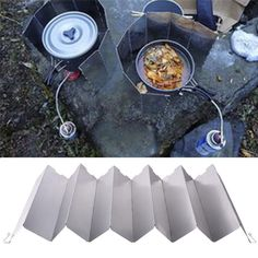 12 Plates Foldable Camping Stoves Wind Screen Split Cooking Range Wind Shield Portable Outdoor Picnic Gas Stove Wind Deflectors