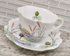 Royal Stafford teacup and saucer, Royal Stafford lotus teacup, pattern 7064, scalloped edge, RARE, green and white