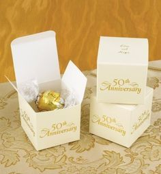 Personalized Anniversary Favor Boxes from Wedding Favors Unlimited 50th Anniversary Decorations, Anniversary Party Favors, Golden Wedding Anniversary, Anniversary Ideas, Parents Anniversary, Anniversary Invitations, Wedding Invitations, Wedding Aniversary, Party Favours