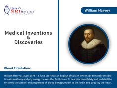 Medical Inventions & Discoveries - William Harvey (Blood Circulation) For more info visit: www.queensnrihospital.com || Dial : 0891-282 7777 William Harvey, Critical Care, Anatomy And Physiology, Inventions, Discovery, Queens, Blood, Medical, Medicine