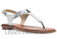 d2569d7799c Michael Kors MK Plate Thong Sandals Saffiano Leather Silver M(Medium) NWB # MichaelKors #thongsandals