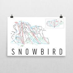 Snowbird Ski Map Art, Snowbird Utah, Snowbird Trail Map, Snowbird Ski Resort Print, Snowbird Poster, Snowbird Mountain, Art, Gift