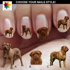 DOGUE DE BORDEAUX, Nail Decal, 120 or 200  Waterslide stickers Decal Nail, three size on Etsy, $6.90