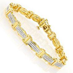 Ladies Silver Diamond Bracelet 0.34ct Yellow Gold Plated