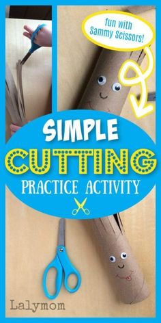 Here is an easy beginner scissor practice idea - Sammy Scissors - from LalyMom (but you could give him your own fun name). The kids love to give this guy a haircut! It is a fun time for them while learning to work with scissors the correct way. You only need a cardboard paper roll, a marker, a pair of scissors, and googly eyes to make this quick and easy fine motor activity come to life for your kids developing little hands. Cutting Activities For Kids, Fine Motor Activities For Kids, Kindergarten Activities, Creative Activities, Preschool Activities, Children Activities, Scissor Practice, Cutting Practice, Scissor Skills