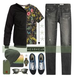 """""""Menswear!"""" by lucksmetoo ❤ liked on Polyvore featuring AG Adriano Goldschmied, Gucci, DC Shoes, Ray-Ban, Volcom, Native Union, Timex, Vans, The North Face and men's fashion"""
