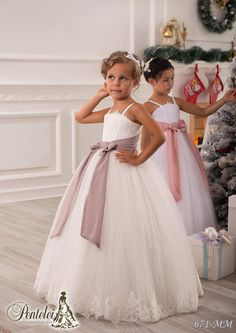 Bridesmaid 2016 Beautiful Flower Girls Dresses For Weddings Spaghetti Sleeveless Sash Bow Lace And Tulle Kids Formal Wear With Floor Length Custom Made Mother Of The Groom Dresses From Liuliu8899, $90.79| Dhgate.Com