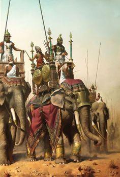 War Elephants desert Historical Warrior Illustration Series Part XXVI Ancient Rome, Ancient Greece, Ancient History, Military Art, Military History, War Elephant, Punic Wars, Rome Antique, Hellenistic Period