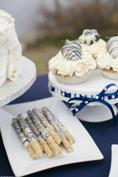 Nautical-themed wedding dessert