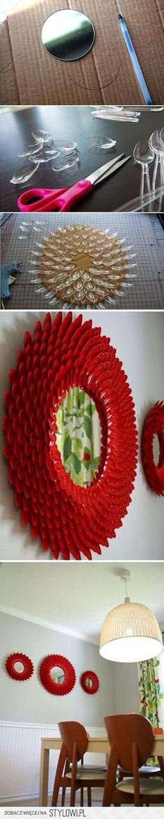 lustro z plastikowych łyżeczek