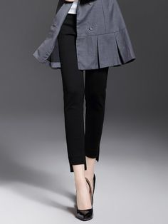 Shop Skinny Leg Pants - Black Basic Cotton-blend Solid H-line Skinny Leg Pant online. Discover unique designers fashion at StyleWe.com.