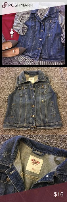 Distressed denim vest So cute and in great shape. Hasn't been worn much since it no longer fits me correctly. I loved this and wish it did still fit. Awesome distressed details and medium to darker wash denim. Durable and comfy while making a statement! Versatile & perfect for layering all kinds of outfits! Bust is 19 in flat. Hips are also 19. Length is nearly 22 inches. No flaws to mention but please see pics for details and condition. SF home. Questions? Ask! Offers/bundles 👍 🚫…