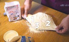 Italialaiskokki Luca Platania näyttää, miten roomalainen pizzapohja tehdään.