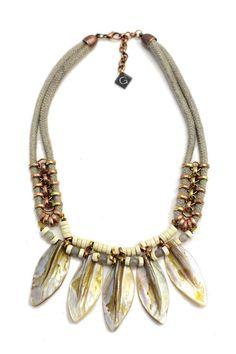 Muschel Perlen Statement Halskette