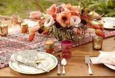 Bohemian summer table - love the mix of colors
