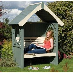 45 Garden Arbor Bench Design Ideas & DIY Kits You Can Build Over Weekend Painted bench arbor Britannia with a straight gable roof by Rowlinson The post 45 Garden Arbor Bench Design Ideas & DIY Kits You Can Build Over Weekend appeared first on Garden Diy. Pergola Garden, Metal Pergola, Garden Seating, Garden Benches, Outdoor Seating, Outdoor Ideas, Gazebo, Arbour Seat, Arbor Bench