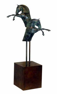 Bronze and steel Small animal sculpture by artist Isabelle Faucher titled: 'Duet (Small Semi Abstract Horse Sculptures)' £5200 #sculpture #art