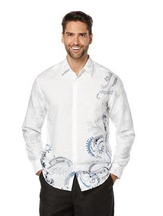 Linen Long Sleeve Showstopper Paisley Print, Bright White, hi-res