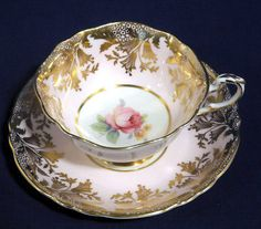 Paragon Fine Bone China Pink w/ Gold Floral Design Rose Tea Cup and + Saucer Set