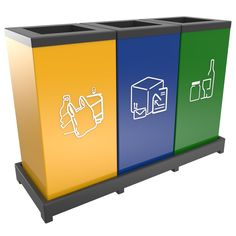 Modular recycling bins set 3 x 55L.   Ideal for office buildings. Place it on the hallways or directly in the office.  Fits with standard 60L waste bags. Detachable top lids and base frame. Colors and stickers are customizable.  Do you like the recycling labels? Get you free set of printable recycling bin labels : http://www.urbaniere.com/free-recycling-labels/