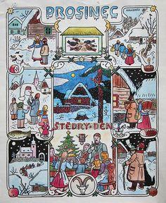Josef Lada: Painting: the calendar, seasons and folk customs, December. Vintage Christmas Cards, Christmas Art, White Christmas, Illustrations, Outsider Art, Typography Prints, Paper Art, Folk Art, Art Decor