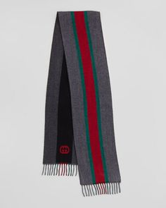 Web Wool Scarf, Gray  by Gucci at Neiman Marcus.