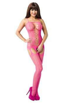 Ouvert Bodystocking Netz pink Cut Outs