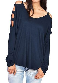 Blue Plain Cut Out Heart-Shaped Neckline Streetwear Cotton T-Shirt