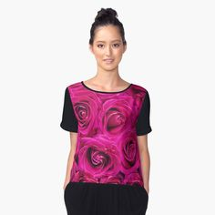 """Pink Roses"" Women's Chiffon Top by Goshadron 