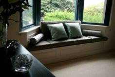 The perfect compromise – being outside in the light… but not! Window Seat Cushions, Panelling, Wainscoting, Lounge, Houses, Couch, Windows, Spaces, Decorating