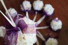 ivory and plum wedding pomander balls