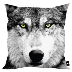 "XLARGE BLACK WOLF FACE YELLOW EYES KING SIZE FLOOR CUSHION HOME DECOR 32"" X 32"" 