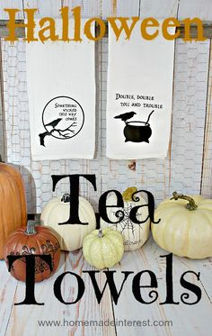 Halloween Tea Towels created with the Silhouette & Heat Transfer {www.homemadeinterest.com}