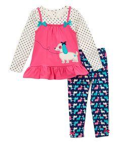 Nannette Pink & Blue Dog Tunic & Leggings - Girls | zulily